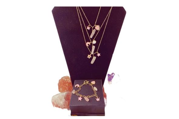 Rose quartz genuine stones matching  gold necklace & bracelet Princess set