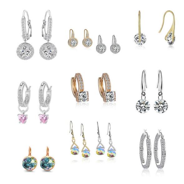 25pr Swarovski Crystal Earrings w Beautiful Gift Box- LOTS STYLES