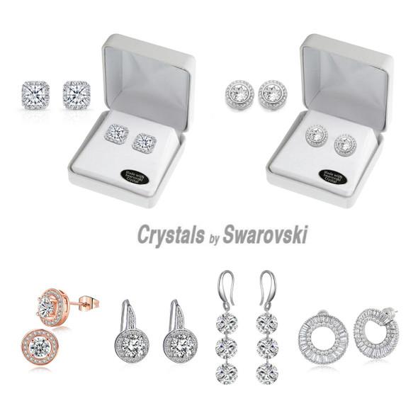 100 pr Swarovski Crystal Earrings w Beautiful Gift Box- LOTS STYLES