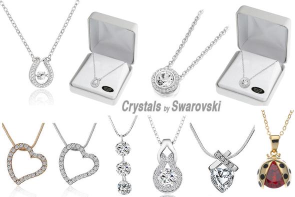 25 Swarovski Crystal Necklaces w Beautiful Gift Box- LOTS STYLES