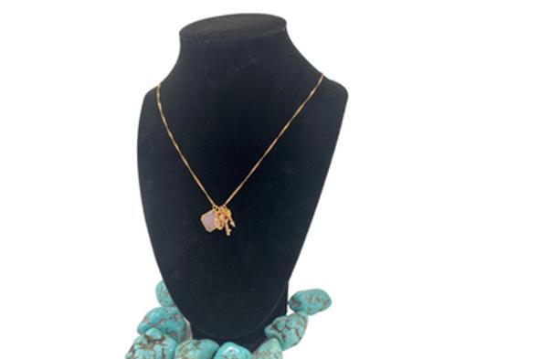 Ericha's Genuine Rose Quartz   necklace w arrow, heart key  NECKLACE