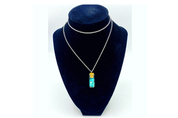 Ericha's Genuine Turquoise  chips in Glass bottle necklace