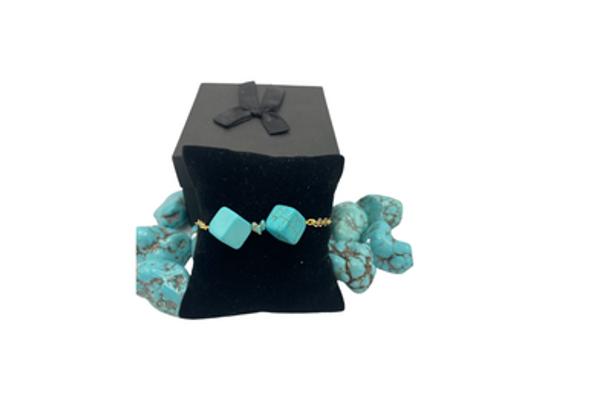 Ericha's  Genuine  Turquoise Cube stone Bracelet Handmade