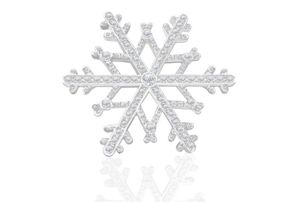 Snowflake Brooch  Made with Swarovski Elements in Silver overlay
