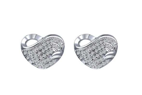 Heart Earrings  Made with Swarovski Elements in Silver overlay