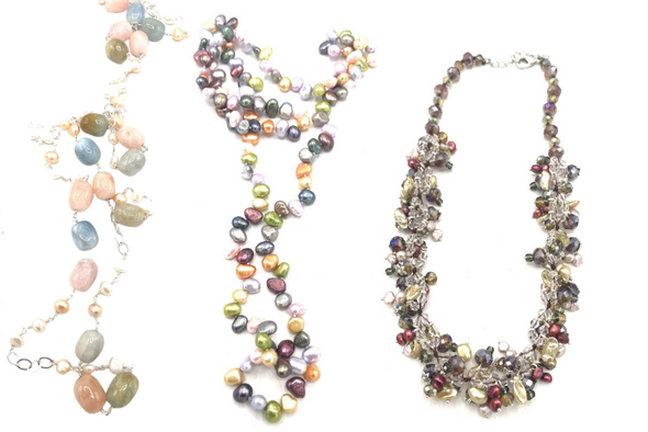50 pieces Genuine Cultured Pearl + Genuine Stone Necklaces- by Vantel Pearl co.