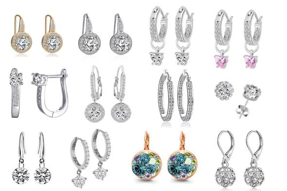 25 Pair Earrings made w/ Swarovski Elements Jewelry