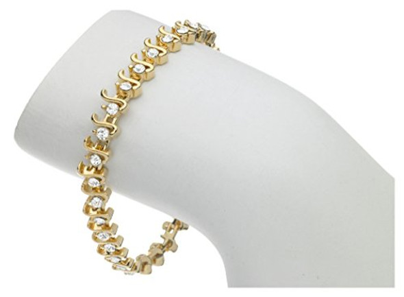 Tennis Bracelet S style made with Swarovski Crystals 14kt gold overlay