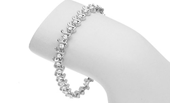Tennis Bracelet S style made with Swarovski Crystals Sterling Silver overlay