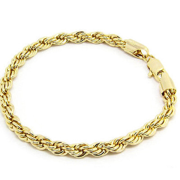 14 KT GOLD OVERLAY ROPE  BRACELET- 8 Inches Long- 6 mm wide -Made in USA