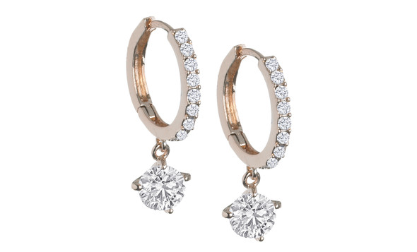 Crystal Drop Hoop Earrings made with Swarovski elements - Gold Overlay
