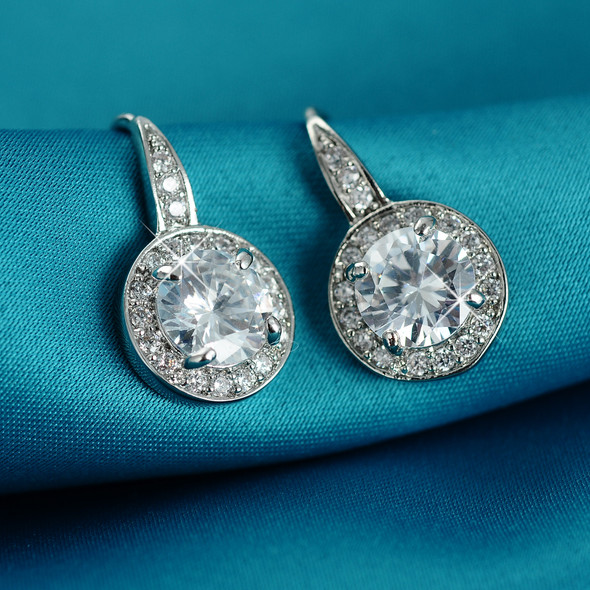 Crystal Halo Earrings made with Swarovski elements - Sterling Silver overlay