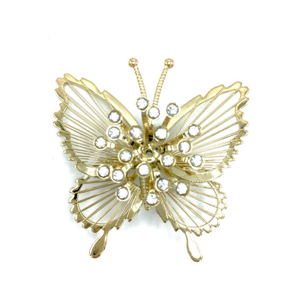 Vintage Signed MONET CRYSTAL  BUTTERFLY  BROOCH GOLD-TONE