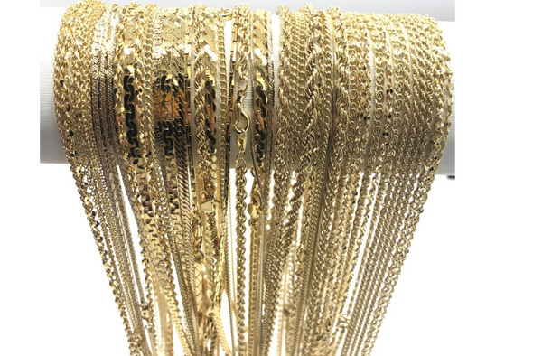 50 Piece Chain Assortment 14 KT Gold Finish MADE IN USA