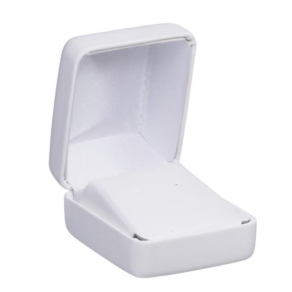 White Leatherette Earring Box   2 X 2 1/4 X 1 1/4