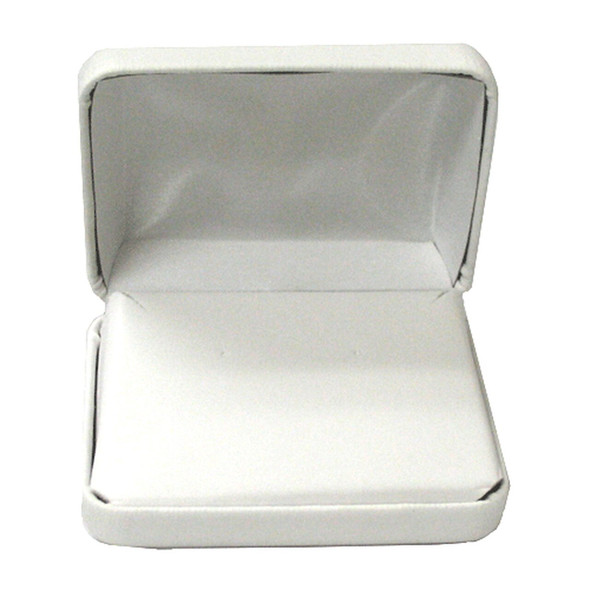 White Leatherette Pendant Box   3 3/4 X 3 1/4 X 1 1/4
