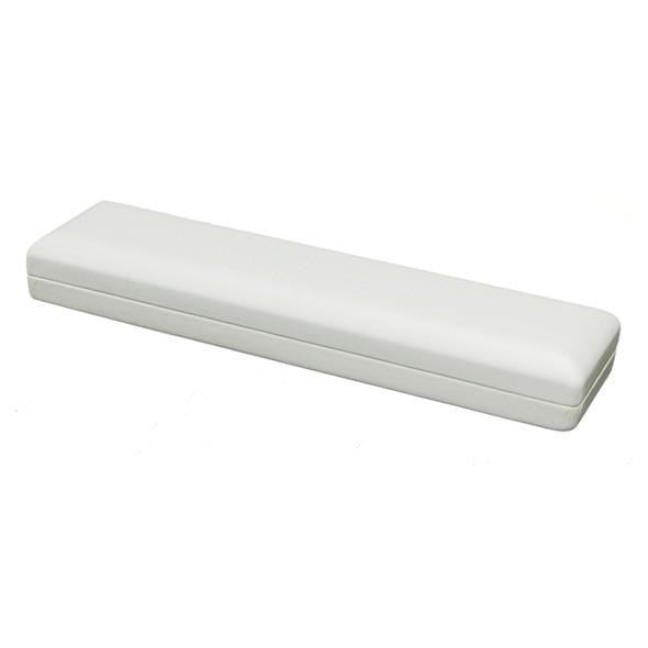 White Leatherette Bracelet Box   8 1/2  X 2 X 1 1/4