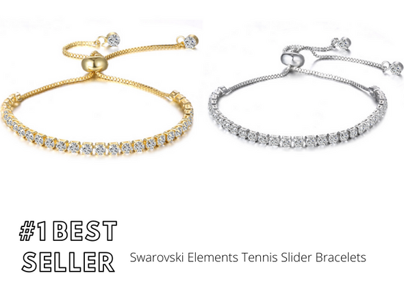 50 pieces Swarovski Elements Tennis Slider Bracelets Gold+ Silver #1 BEST SELLER