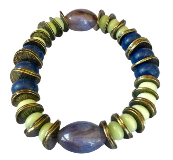 Genuine Stone Amethyst Bead Bracelet