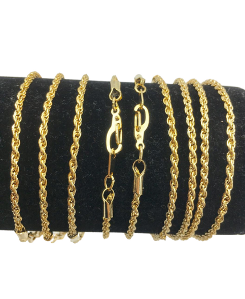 Thin Rope Bracelet - Made and Plated in USA 14 kt Gold or Rhodium plated