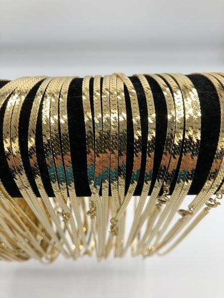 Diamond Cut Herringbone Chains 14 kt Gold Plated - 18 inch