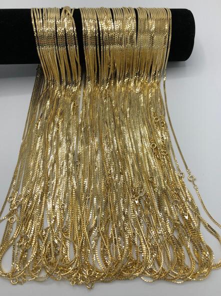 Diamond Cut Herringbone Chains 14 kt Gold Plated - 24 inch