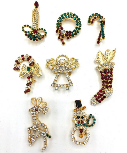 8 Christmas Brooches  Made with Swarovski Crystals