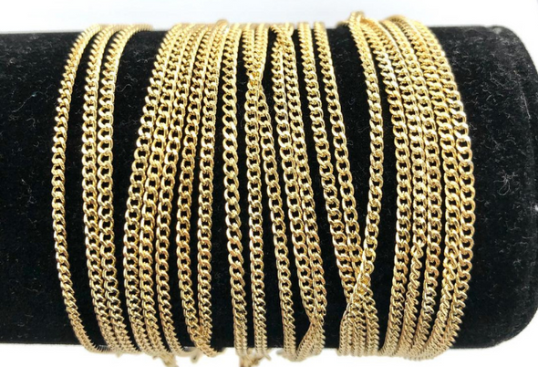 Curb Chain Bracelets 14 kt Gold Plated - 7 1/4 inch