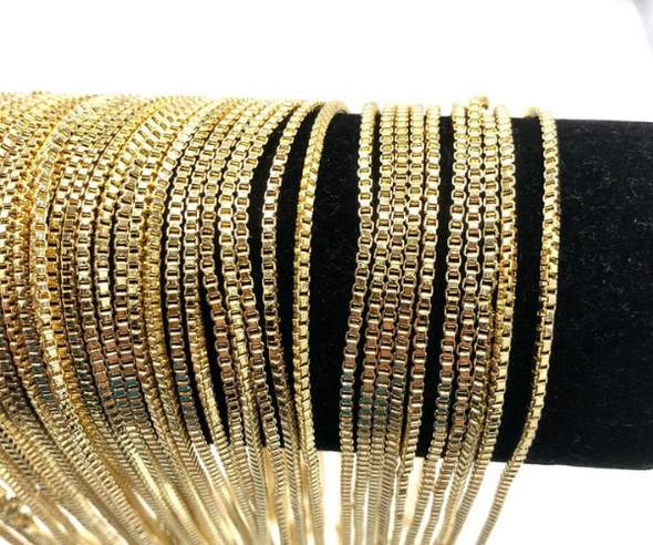 Venetian Box Chains 14 kt Gold Plated - 18 inch Made & Plated in  USA