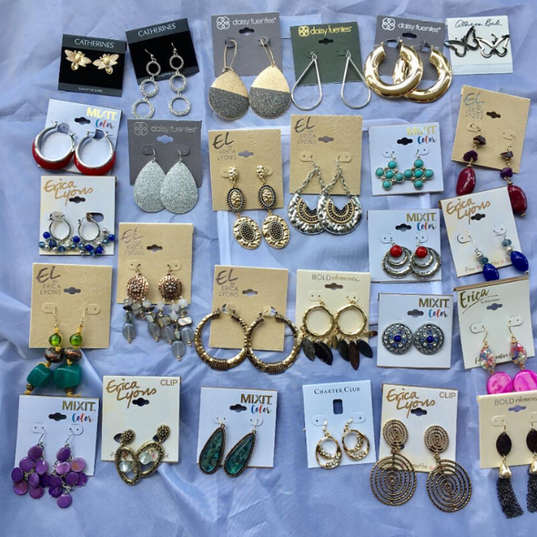 25 Pair All Designer Name Brand Earrings- Amazing lot !!-quality