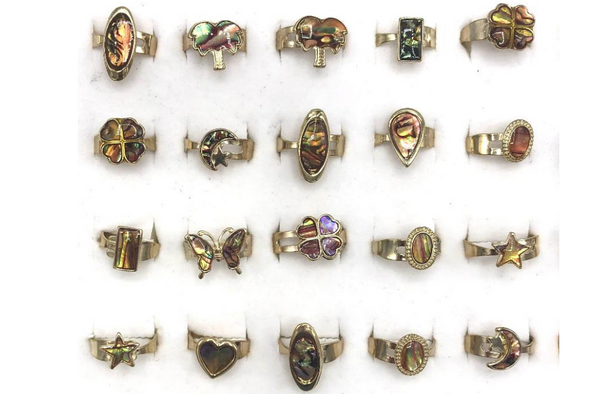 100 Abalone Shell Rings