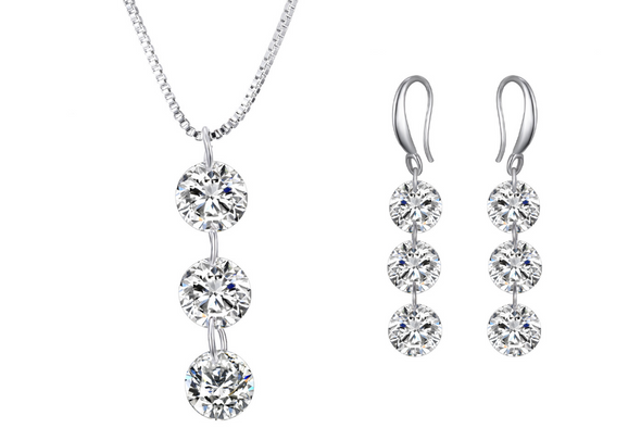 Naked Drill Necklace & Earring Set  w/Swarovski Elements