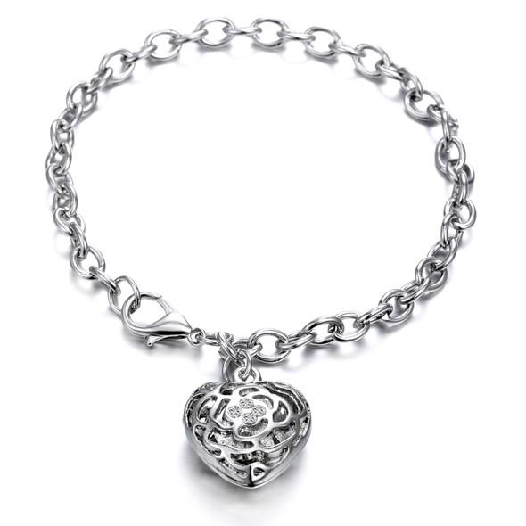 Heart Charm Bracelet Made with Swarovski Crystals- Rhodium  Overlay