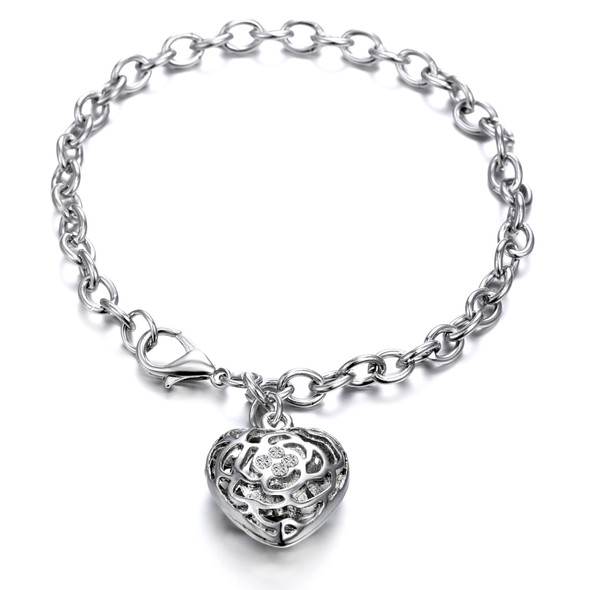 Charm Bracelet Made with Swarovski Crystals- Rhodium  Overlay