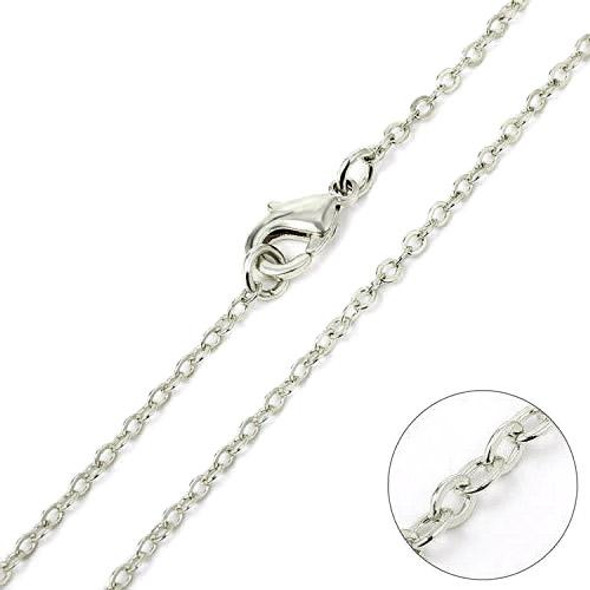 144 Pcs Fine Cable Chains  Sterling silver or Rhodium Plated in USA -18 INCH