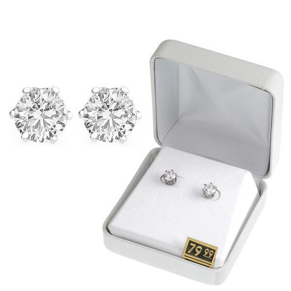 Cubic Zirconia Earrings in Beautiful Gift Box -2 Carats- Choice Gold or Silver