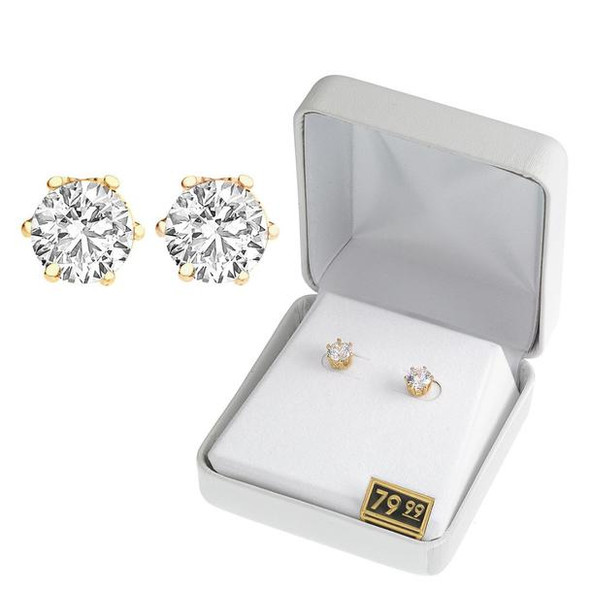 50 pair  Cubic Zirconia Earrings in Beautiful Gift Box -2 Carats- Choice Gold or Silver
