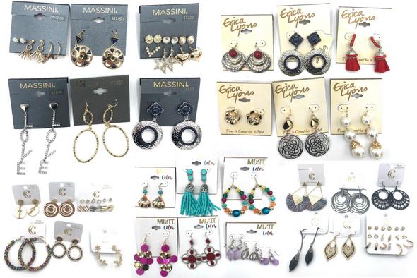 50 Pair Designer Name Brand Earrings, Erica Lyons, Daisy Fuentes
