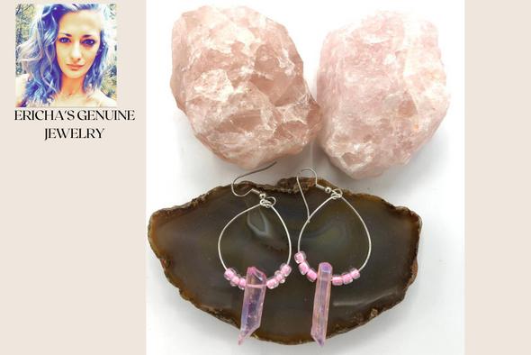 Ericha's Genuine Rose Quartz Hoop Earrings- Handmade