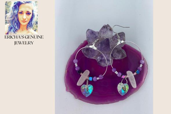 Ericha's Genuine Rose Quartz w Aurora  Hoop Earrings- Handmade