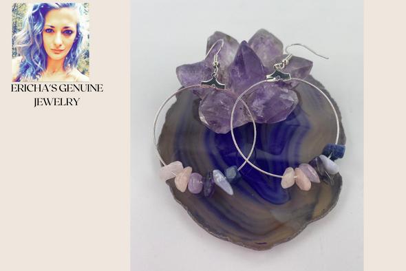 Ericha's Genuine Rose Quartz , lite Amethyst ,  Dark Amethyst,  sodalite, and blue lace agate   Hoop Earrings- Handmade