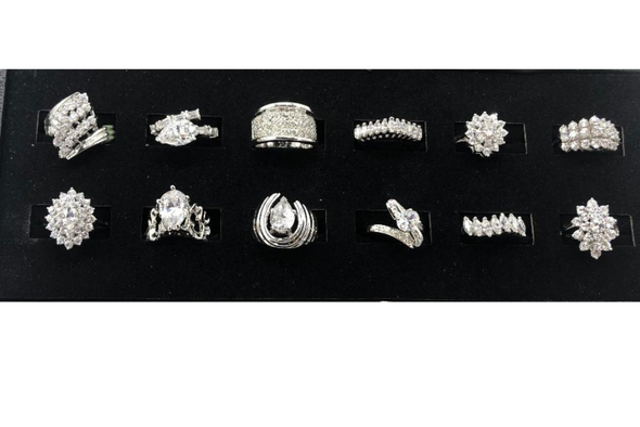 12 Assorted Sterling Silver .925 -Women's Extra Fancy CZ Cocktail Rings