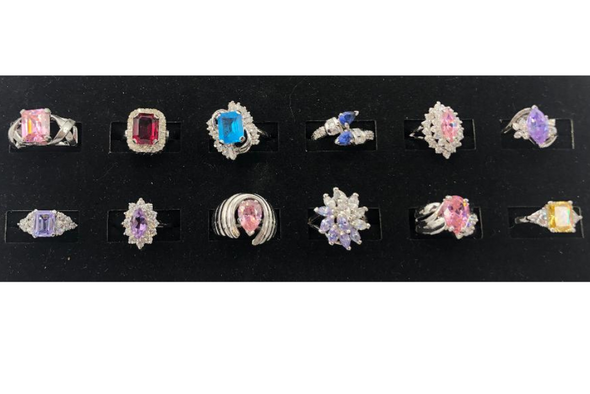 12 Assorted Sterling Silver .925 -Women's Extra Fancy  CZ Cocktail Rings - Asst Colors
