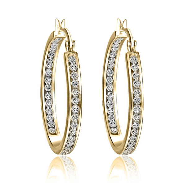 Inside Outside Hoop  Earrings made with Swarovski elements - Gold Overlay