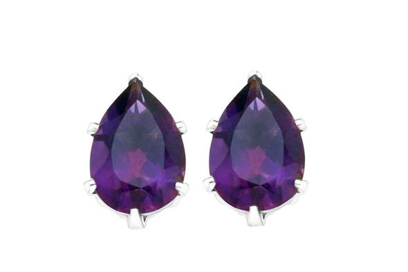 4 CTTW Genuine Amethyst Pear Drop Earrings in silver overlay