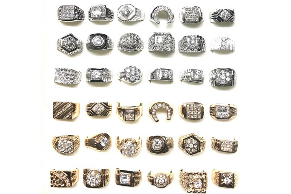 36 pieces Mens CZ Rings - sizes 9 thru 13