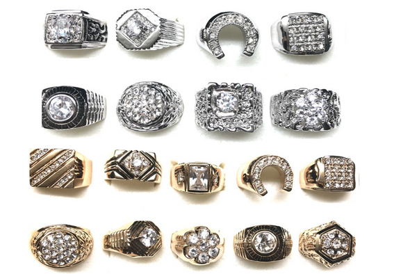 Mens CZ Rings - sizes 9 thru 13- your choice of size & color