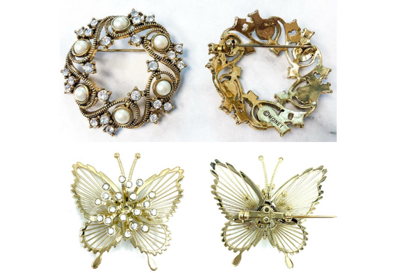 50 pcs MONET BROOCHES Crystal Butterfly & Crystal & Pearl Swirl