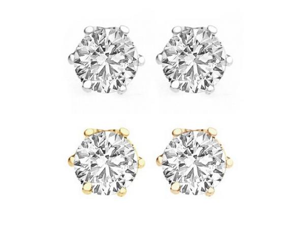 100 pr Swarovski Crystal Stud Earrings 2 carat T.W Silver & Gold