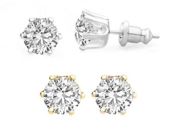 50 pr Swarovski Crystal Stud Earrings 2 carat T.W Silver & Gold